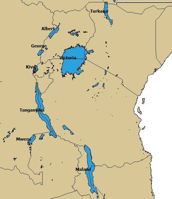 africa map showing lakes